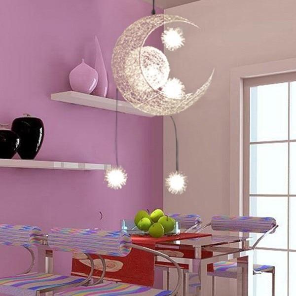 Kid's Room Lighting Modern Fashion Moon&Star Pendant Lights Child Bedroom Lamps Aluminum Chander for Living Room Home Decoration
