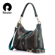 Женская кожаная сумка хобо REALER