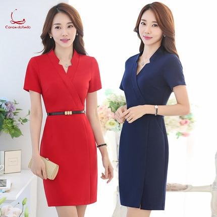 0422545a550 Venta Esteticista profesional vestido de verano con cuello en V ...