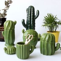 Europe Style Ceramic Cactus Storage Box Creative Jewelry Box Sugar Bowl Tea Bag Storage Box Canister