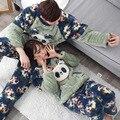 Corea floral precioso panda pijamas set caliente suave unisex con capucha sets kawaii ropa de casa amantes de invierno gruesa ropa de dormir trajes 1120