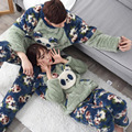 Korea lovely floral panda pajamas set soft warm unisex hooded sets kawaii home clothes winter lovers thick sleepwear suits 1120