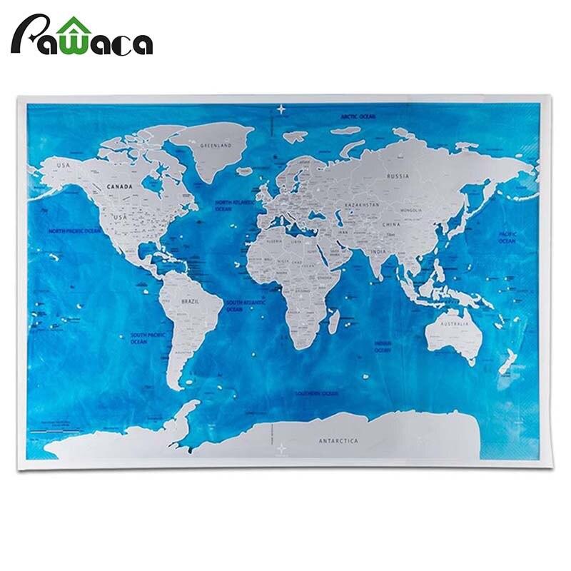 Edizione Deluxe Scratch Mappa Personalizzata Scratch-off World Map Diario di Viaggio Mappa Del Mondo Wallpaper Oceani Wall Stickers Home Decor