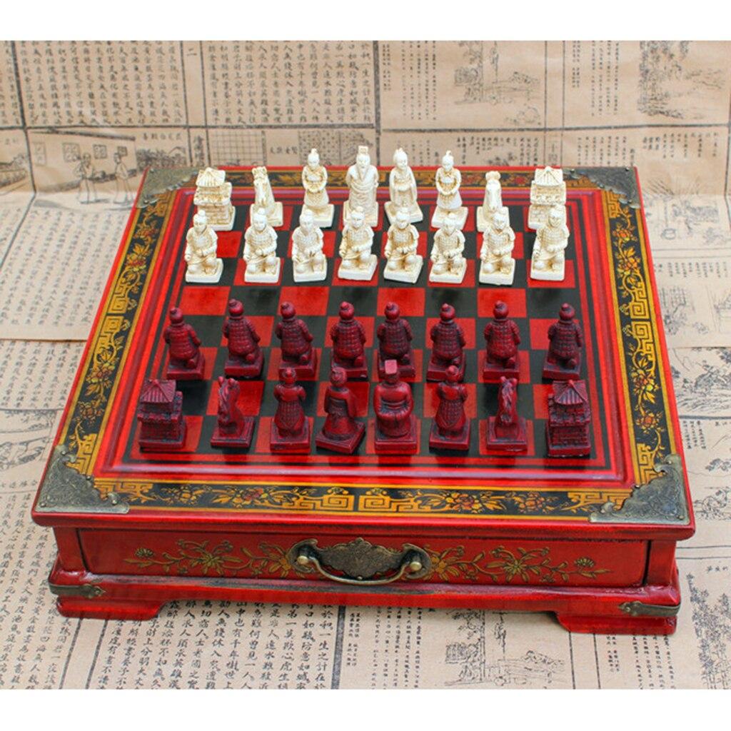 Haut de gamme Vintage chinois en terre cuite guerriers jeux d'échecs jeu de société cadeau pour les amis famille partie amusant jeu