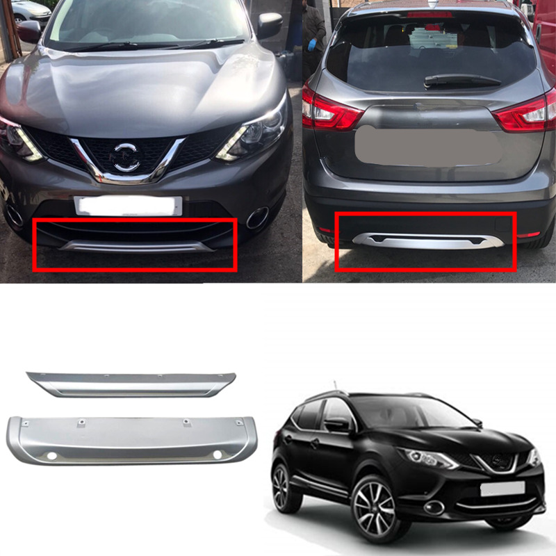 Fit For Nissan Qashqai Dualis J11 2014 2015 2016 2017 ABS Car Exterior Front & Rear Bumper Skid Protector Guard Plate Cover 2PCS 2pcs set accessories fit for 2015 2016 2017 nissan qashqai j11 rear bumper protector cargo boot sill plate trunk lip
