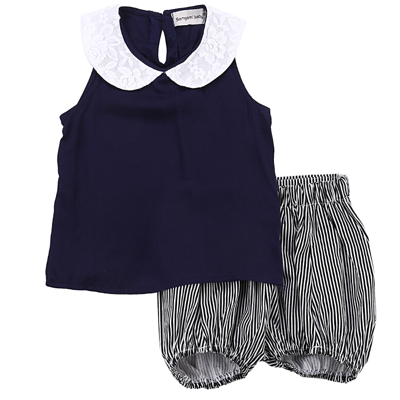 T-shirt Tops + Shorts Striped 2PCS Set Girl Clothing Summer Beach Outfits Clothes Toddler Kids Baby Girls Sets 2pcs