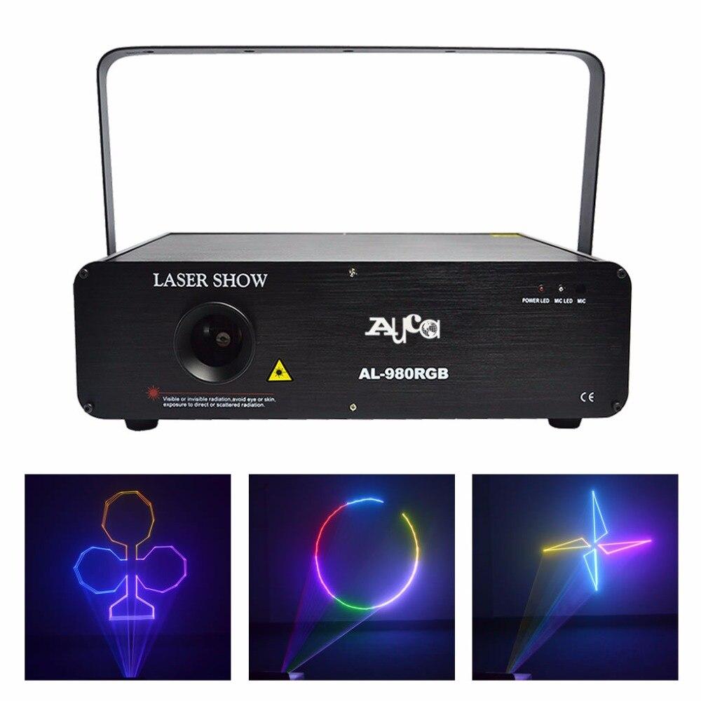 AUCD 1W RGB Animation 12CH DMX 512 ILDA Scan Laser Lights DJ Party KTV Disco Projector Show Professional Stage Lighting AL980RGB dmx512 digital display 24ch dmx address controller dc5v 24v each ch max 3a 8 groups rgb controller