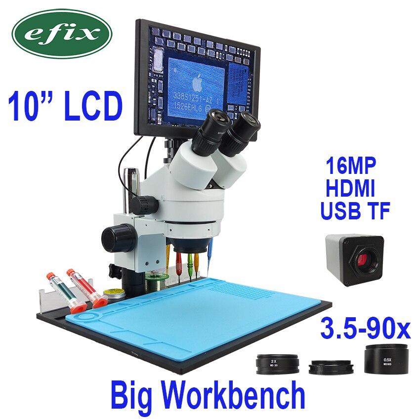 Efix 10 LCD Simul-Focal Zoom Continu 3.5 ~ 90X Trinoculaire Stéréo Microscope 1080 HDMI USB Appareil Photo Numérique workbench
