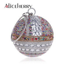 Women High Quality Handbags Brand Designer Chain Round Shaped Silver Gold Clutch bag Evening Ladies Luxury Wedding Party Bags цена