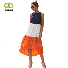 GOPLUS Fashion Sexy Sleeveless Patchwork Dress Women Vintage High waist Midi 2019 Summer Beach Party Vestidos Female