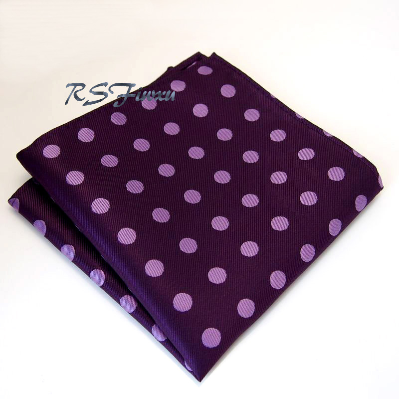 Free Shipping New Dots Purple Pink Hanky Mens Jacquard Weave Silk Pocket Square/Party hankies/Hankerchiefs Wholesale