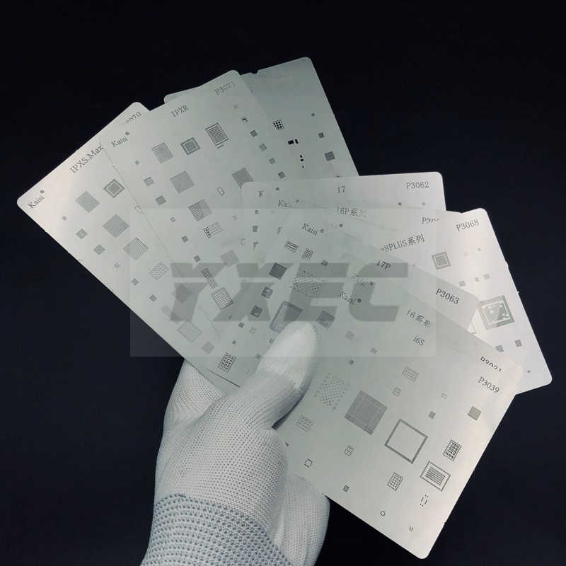 16 pçs/lote IC Chip BGA Reballing template Stencil Kits Conjunto De Solda para o iphone X 8 7 6 6s plus SE 5S 5C 5 4S 4 iPad alta qualidade