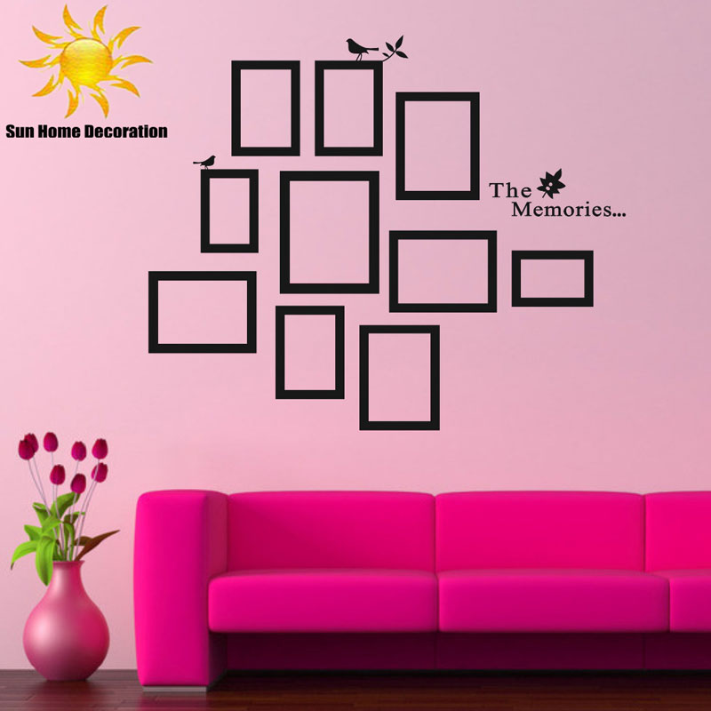 Aliexpress.com : Buy DIY Photo Frame Black Removable Vinyl Wall Stickers  Decals Quote Living Room Bedroom Background Home Decor Free Shipping From  Reliable ... Part 88