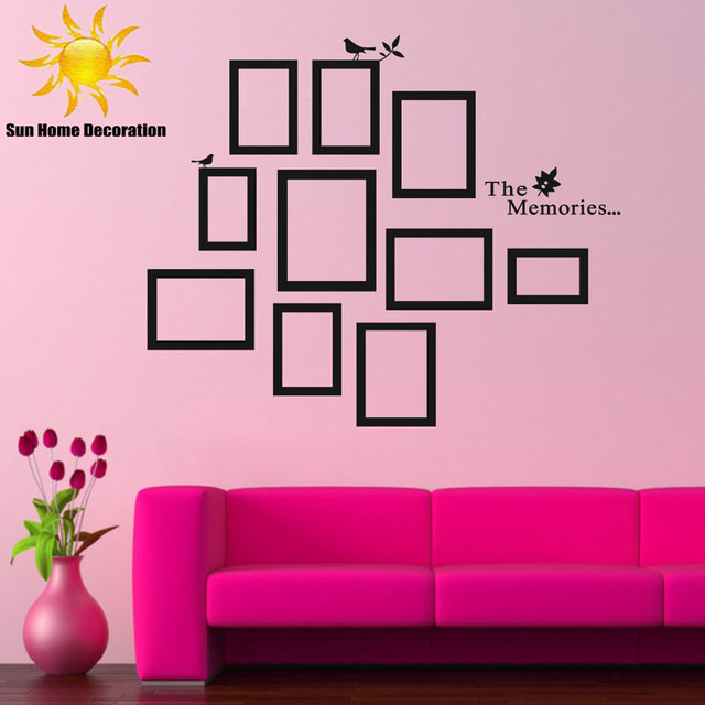 DIY Photo Frame Black Removable Vinyl Wall Stickers Decals Quote ...