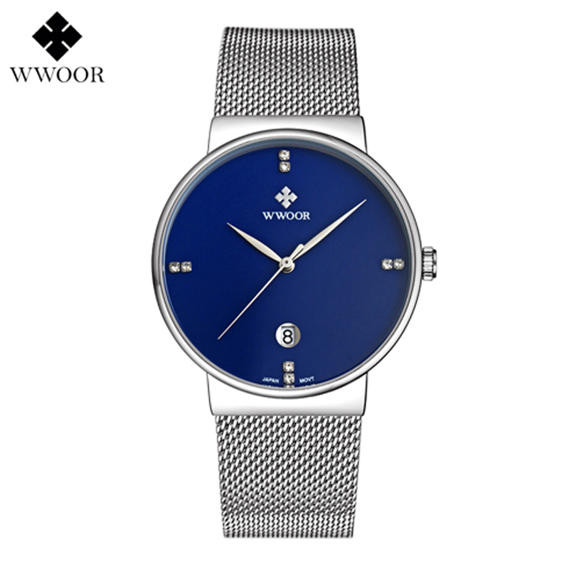 Fashion Simple Stylish Luxury brand Watches Stainless Steel Mesh Strap Thin Dial Clock Man Casual Quartz-watch relogio masculino 2018 new mce brand quartz watches for women fashion roman numerals simple watch casual stainless steel leather strap clock 002