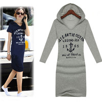 Plus Size XXXL Women Spring 2014 Brands Design Casual Dresses Long Sleeve Pullover Slim Cotton Letters