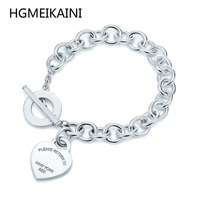 HGMEIKAINI Original Tiff100 % hit the 925 sterling silver heart charm bracelet DIY fashion ladies jewelry gifts