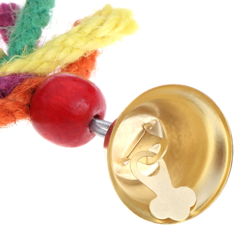 Pet Parrot Toys Chewing Bite Colorful Blend Cotton Rope Bell Bird Hanging Cage For Cockatiel Parakeet Bird Toy in Bird Toys from Home Garden