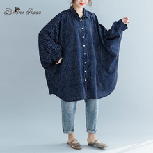 BelineRosa Plus Size Blouse European Fashion Batwing Super Tops Striped Blouse in Big Size 150kg Oversized Clothes JJDM0058 striped batwing sleeve blouse