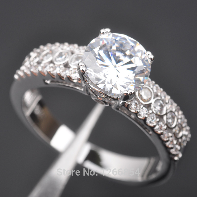 Noble White Stone Cubic Zirconia For Women 925 Sterling Silver Jewelry Ring Size 6 7 8 9 N0703 Free Shipping
