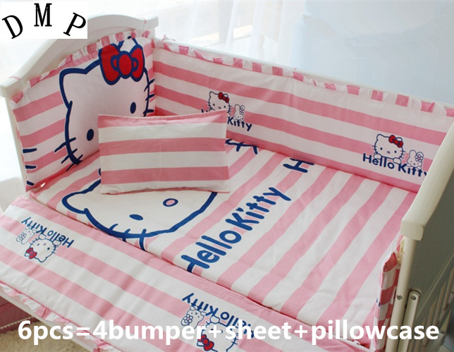 Promotion 6pcs Cartoon baby crib bedding washable cotton ruffle ultra soft thickening include bumpers sheet pillow
