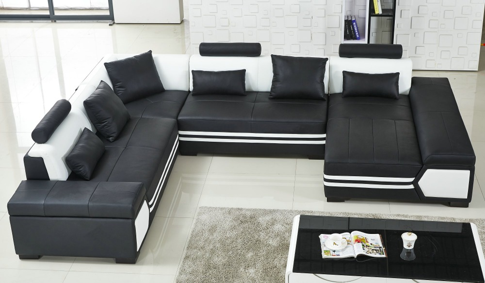 Large U Shaped Sofa Black Leather Couch Living Room And Lounge In Sofas From Furniture On Aliexpress Alibaba Group