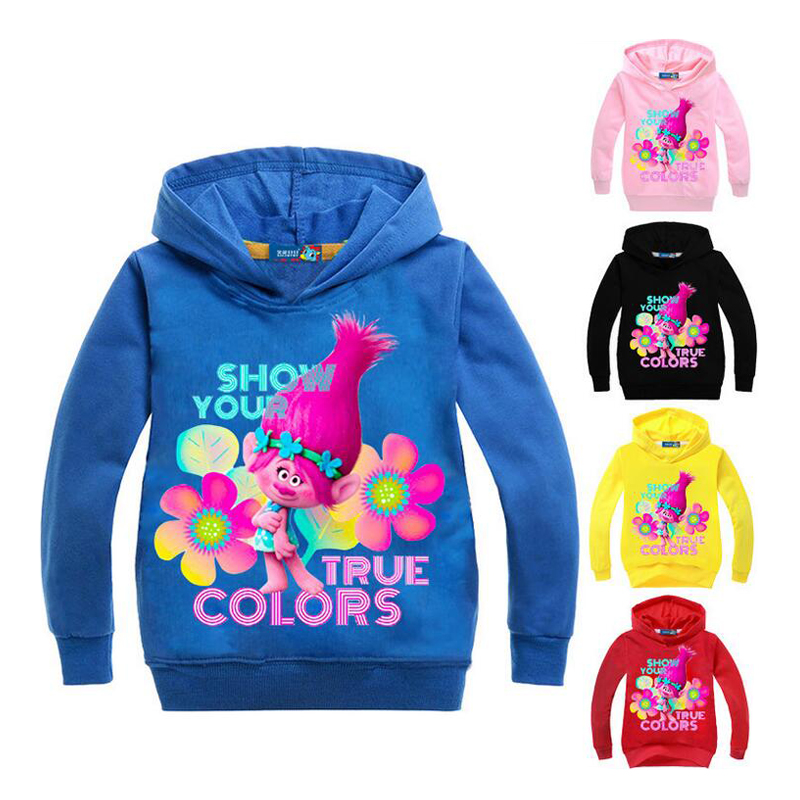 New Spring Autumn Children Hoodies trolls Cartoon Boys Girls Long Sleeve T-shirt Kids Clothes hooded sweatshirt