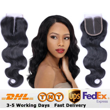 Cheap 9A 4X4 3 Middle Free Part Lace Closures Bleached Knots Brazilian Body Wave Human Hair Lace Closure Piece With Baby Hair