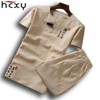 HCXY 2018 New Summer Men Short Sleeve Linen (T shirt + short ) one set Tee T shirt Men style t shirt for male Large size 6XL