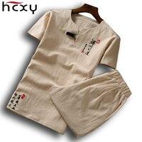 HCXY 2018 New Summer Men Short Sleeve (T shirt + shorts ) one set Tee T shirt Men t shirt for men Full cotton Plus size 6XL