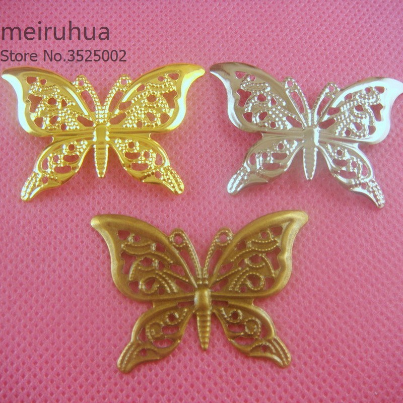 20 pieces / lot 26*38mm Metal Filigree butterfly Slice Charms base Setting Jewelry DIY Components Findings07564