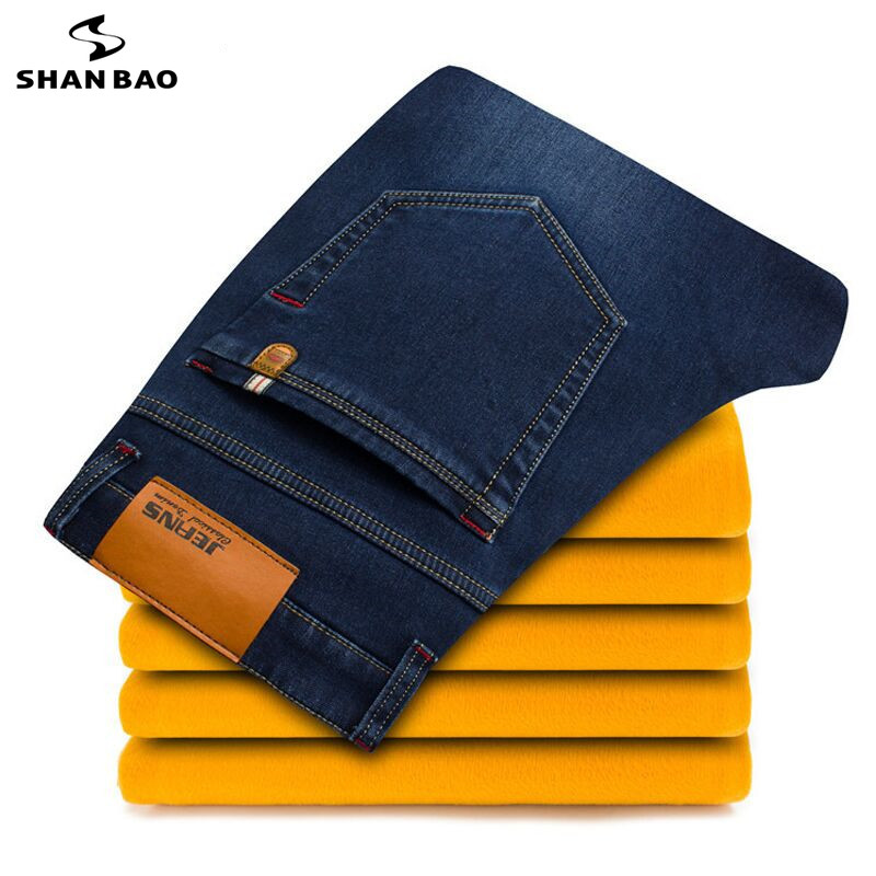 Large size 28-46 young men's brand casual   jeans   2019 winter new thick warm   jeans   good quality fashion denim trousers black blue
