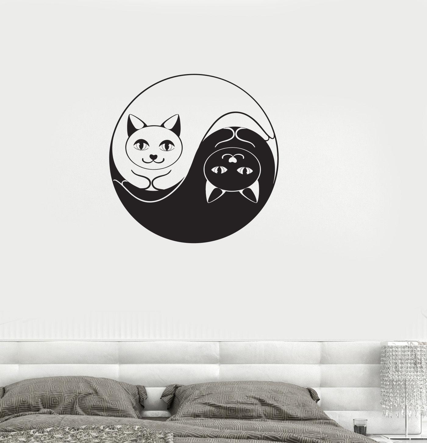 Tier Vinyl Aufkleber Yin Yang Katze Dao Taoismus Zen Schlafzimmer