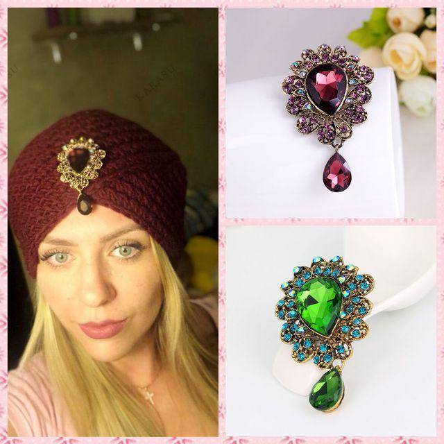 Water Drop Big Merek Perhiasan Big Red Kaca Tengah Kristal Rhinestones Bros Bouquet Bros Pin untuk Wanita Bouque Pernikahan Perhiasan