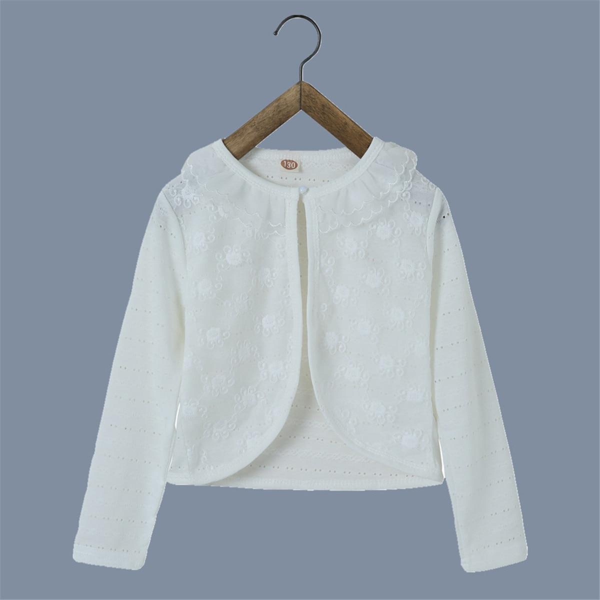 RL 2019 dívčí bunda dětské Cardigan dívky 100% bavlna bílé květinové dívky kabát pro 1 2 3 4 6 8 10 12 let dětské oblečení