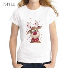 Original PSTYLE Christmas Deer Design tshirt women cute animal print t-shirt harajuku cartoon tee shirts brand tops tee 2018 long sleeves deer print christmas tee