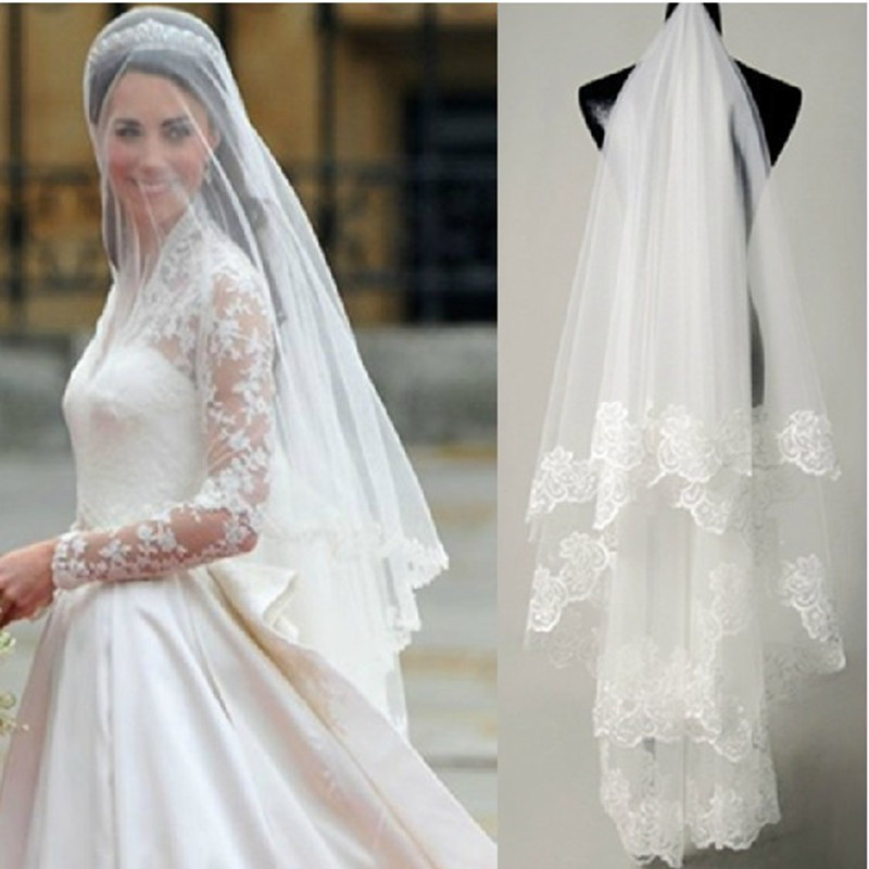 Kate White Lace Edging Wedding Veils Princess Vintage Veil Bridal Accessories Free Shipping Velos De Novia In From Weddings