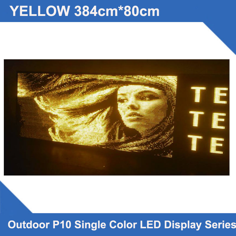 Custom designed LED displays Multi line LED displays 384x80cm P10 yellow outdoor led display screen led scrolling message sign