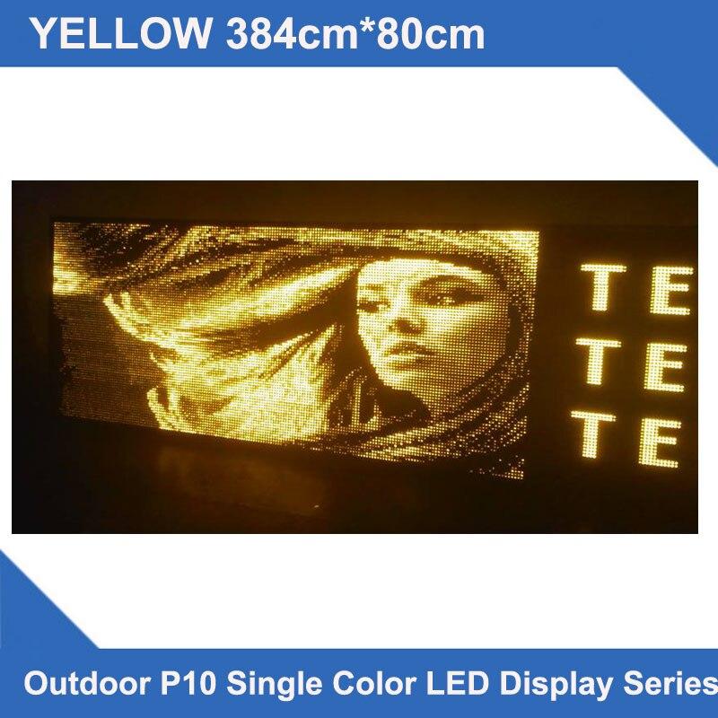 Le LED conçu par coutume affiche le signe de LED d'écran de affichage LED extérieur jaune de 384x80 cm P10 message défilant LED multi-lignes