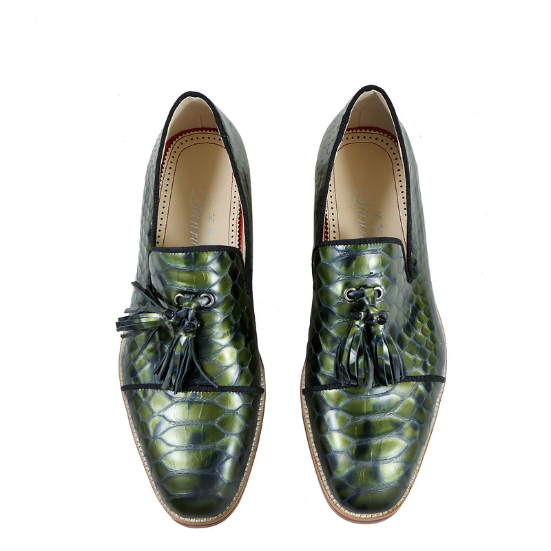 Qianruiti Jacaré on De Vestido Slip colorido Anti eu46 Homens Campismo Eu39 Rebite lago multi Azul Flats Verde Oxfords Borla Estilo skid Sapatos Vintage d5fZx0nqx