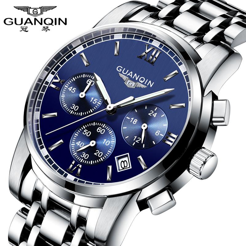 Prix pour Mode montre hommes de luxe top marque guanqin acier hommes montre lumineuse étanche montre-bracelet multifonction hommes horloge montre à quartz