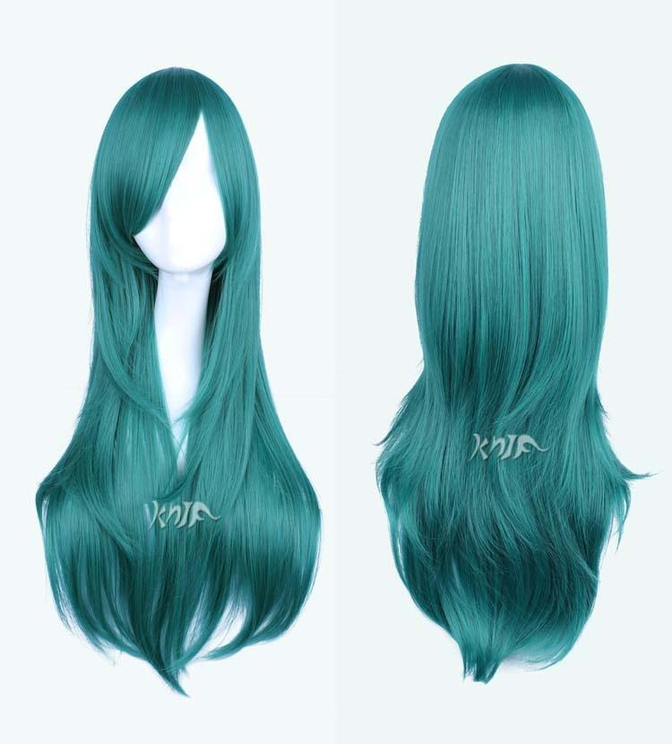 Yang Yan Harajuku anime wigs Green 56cm Long Curly Wavy Hair Party Cosplay Full Wig