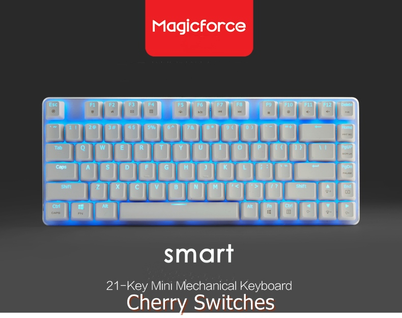 Magicforce 68 Keys Mini Gaming Mechanical Keyboard Blue Switch White Silver