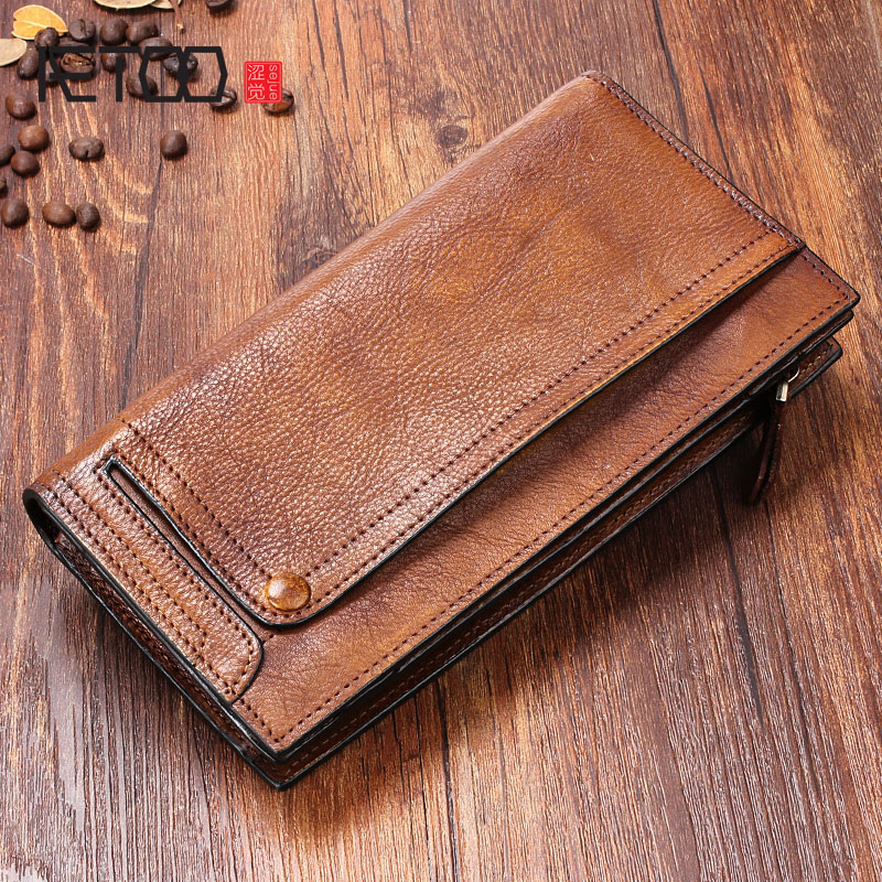 AETOO Multi-functional mobile phone bag male leather long wallet men's young leather wallet casual of the wave mobile wallet long wallet mobile phone canvas bag leather vintage old denim handbag and girlfriend gift