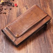 купить AETOO Multi-functional mobile phone bag male leather long wallet men's young leather wallet casual of the wave mobile wallet по цене 2794.27 рублей