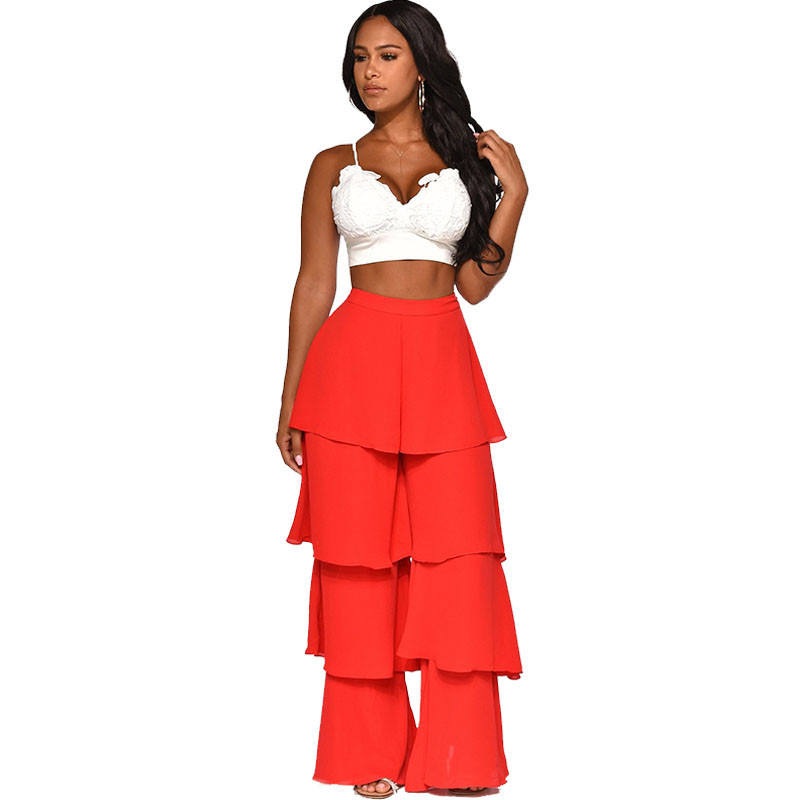 High Street Tiered Layered Ruffles Flare Pants Women High Waisted Long Trousers Office Lady Workwear Solid Irregular Loose Pants