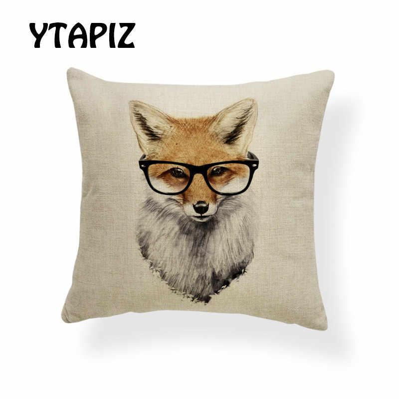 Наволочка для подушки с изображением животного квадрат 17x17 дюймов полиэстер лиса желтый очки стоящий красный коричневый галстук-бабочка белый декор наволочки
