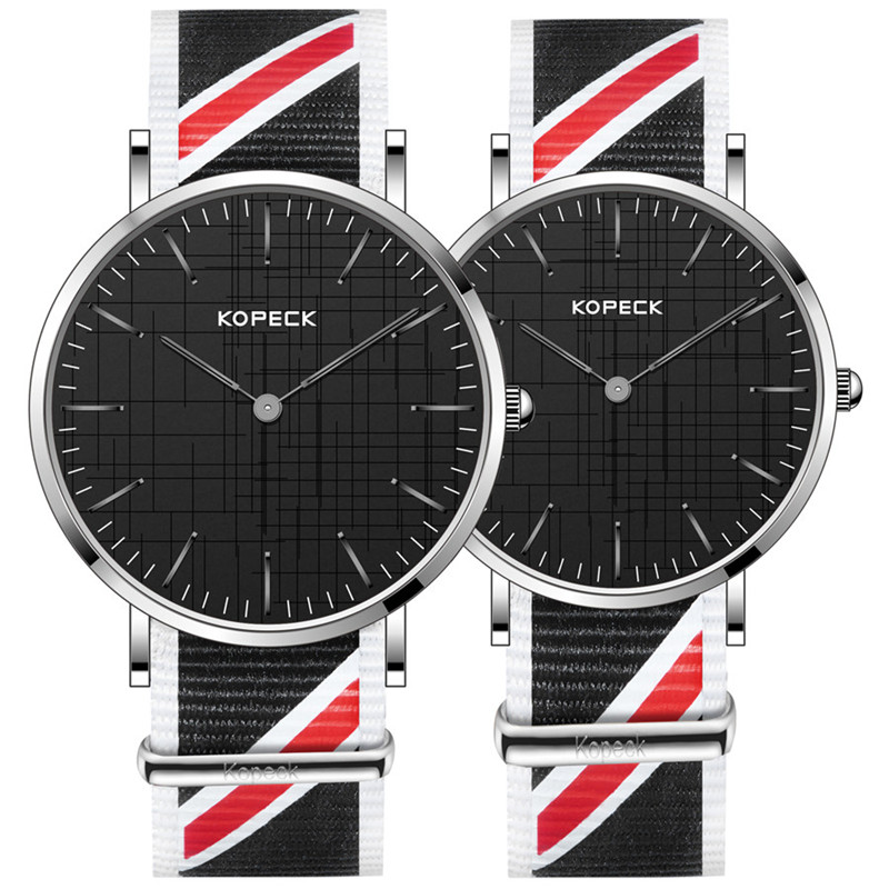 Luxury Casual 6mm Ultra Slim Dial Men and Women Watches Nylon Strap Couple Clock Lovers Wrist Watch Top Brand Kopeck 2017