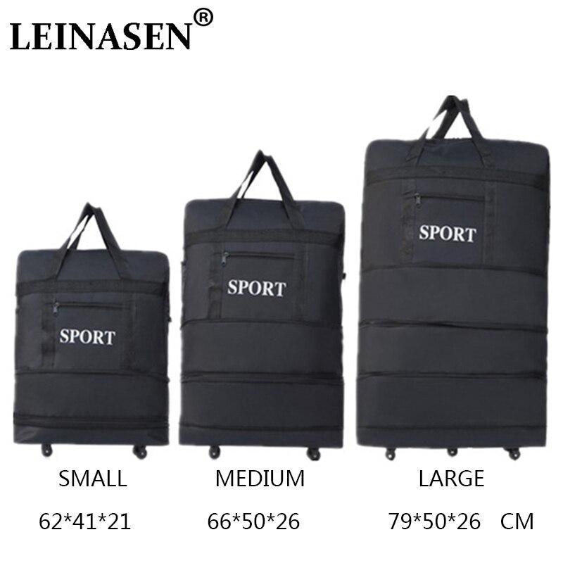 2019 LEINASEN gros ultra-léger bagages sac de voyage grande capacité roues universelles rétractable pliable remorqueur boîte