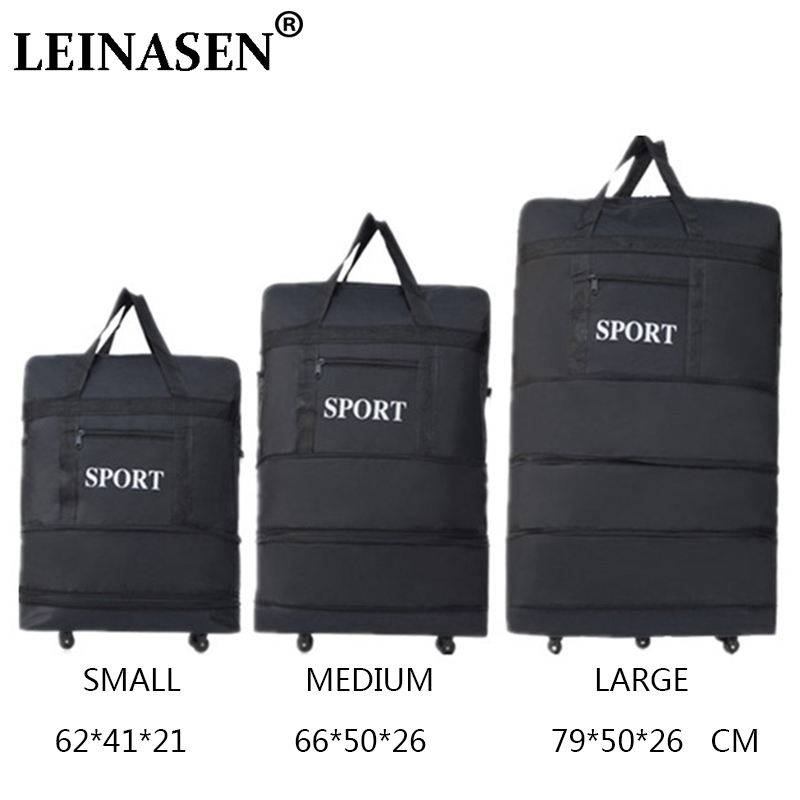 2019 LEINASEN wholesale ultra light luggage travel bag large capacity universal wheels retractable folding tug box